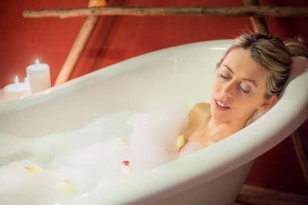 woman in bath: Young woman enjoying bath