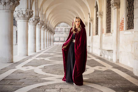 mysterious woman: Mysterious woman in red cloak