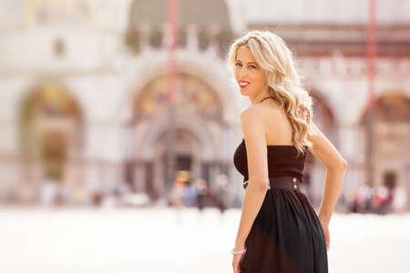 fashionable woman: Fashionable woman in black dress
