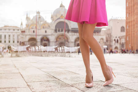 high life: Elegant lady with beautiful legs in high heel shoes Stock Photo