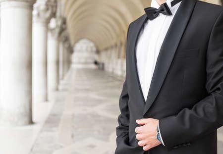 elegantly: Elegantly dressed man in tuxedo
