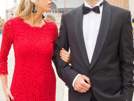 elegantly: Elegantly dressed couple Stock Photo