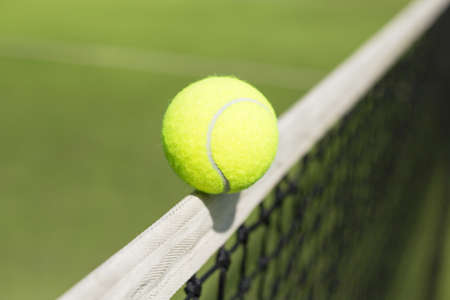 ball point: Tennis ball hitting the net