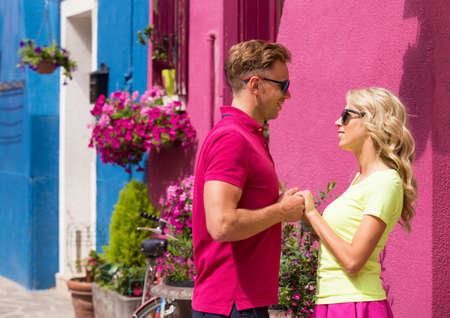 proposing: Couple meeting in romantic village Stock Photo