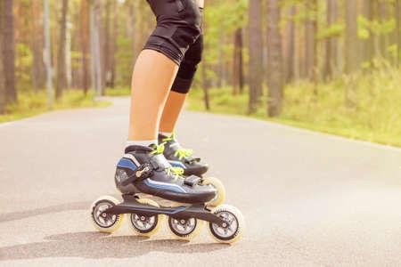 inline skater: Female on roller skates