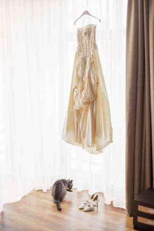 fabric texture: Wedding dress hanging by the window