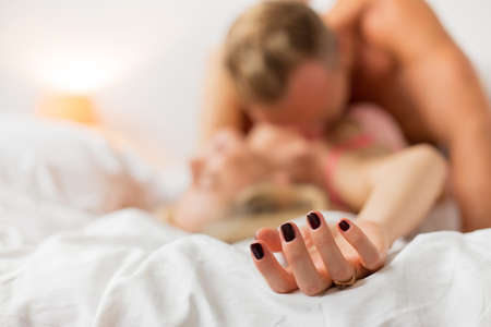 sex couple: Man and woman having sex Stock Photo