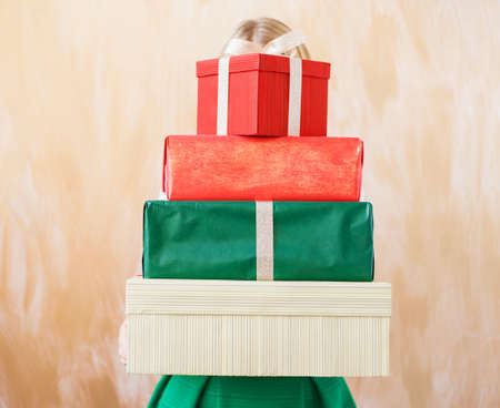 sized: Different sized present boxes Stock Photo