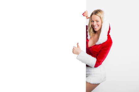 sexy costume: Sexy woman in red costume showing thumbs up Stock Photo