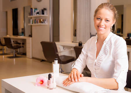 manicurist: Happy female after  visiting manicure