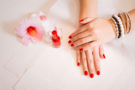 womans hands: Beautiful womans hands after manicure