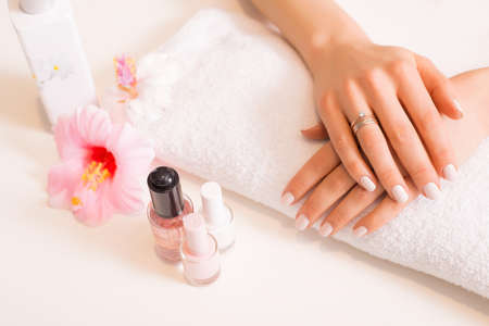 acrylic nails: Woman with well manicured nails Stock Photo