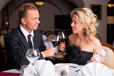 fine dining: Couple having a celebration in restaurant
