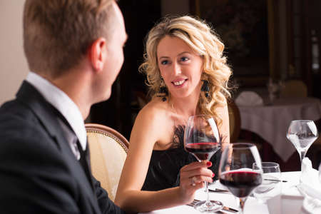 romantic man: Woman in love looking at her date Stock Photo
