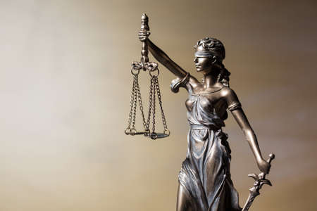 attorney scale: Close up of Themis figure Stock Photo