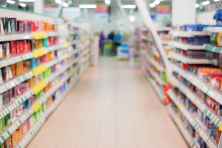 food products: Supermarket aisle Stock Photo