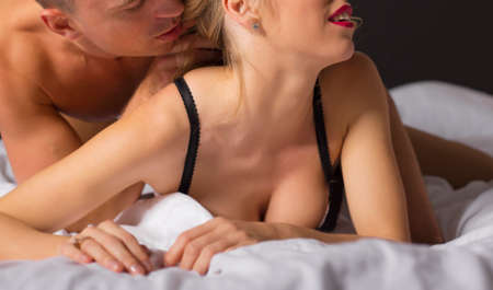 man and woman sex: Man and woman in bedroom making love
