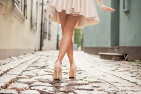 Elegant lady wearing high heels Stock Photo