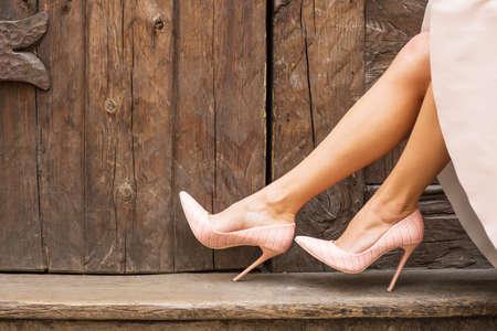nude: Nude high heel shoes Stock Photo