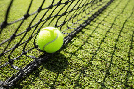 tennis net: Tennis ball in the net