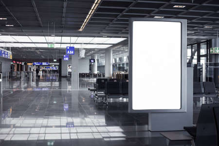 Empty advertising frame in airport