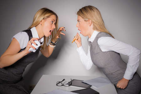 office manager: Two business ladies having a fight Stock Photo