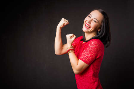 Strong woman showing her strength