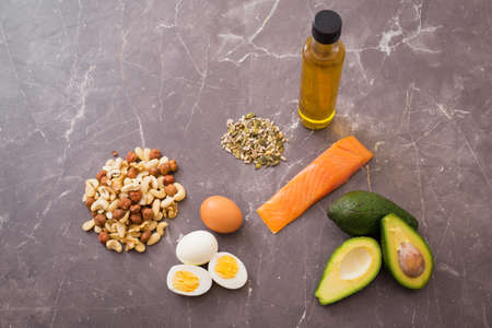 protein source: Source of protein and fats on kitchen table Stock Photo