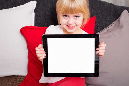 kids hand: Little kid holding tablet and smiling