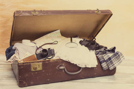 stuff: Suitcase with traveling stuff