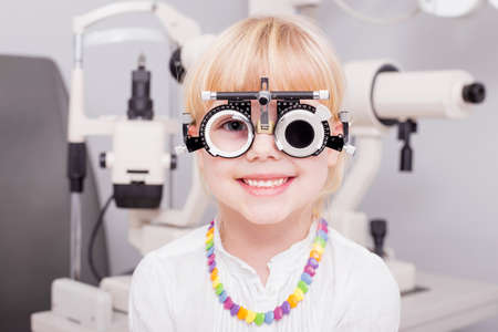 Little girl checking her vision