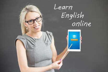 promoting: Woman promoting online  English language courses