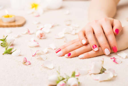 manicured hands: Woman showing her well manicured hands