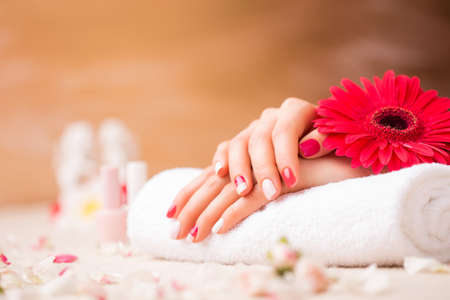 classy woman: Woman at spa with well manicured nails Stock Photo