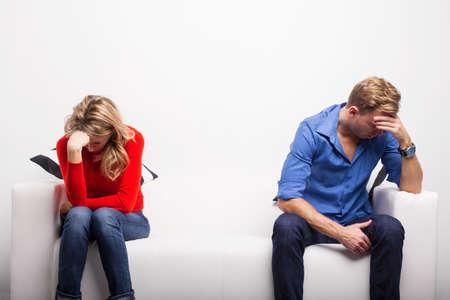 upset: Depressed couple having problems