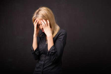 head ache: Woman with head ache