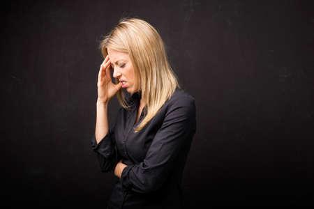 head ache: Person having head ache