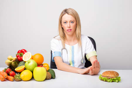 dietitian: Health professional promoting to eat  healthy Stock Photo