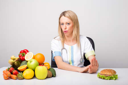 no food: Health professional promoting  healthy lifestyle
