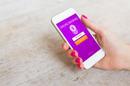 anywhere: Online banking app on mobile phone