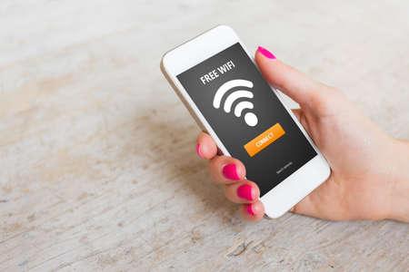 Gratis Wifi op smartphone Stockfoto