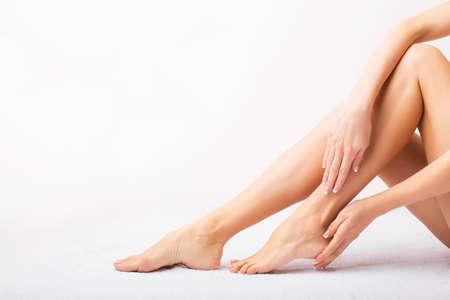 feet naked: Female taking care of her feet