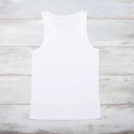 wifebeater: White sleeveless shirt Stock Photo