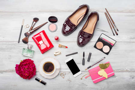 Womens fashion and beauty objects and accessories on wooden floor Stok Fotoğraf