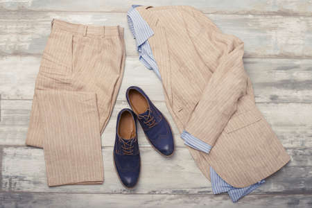 fashion clothing: Mens shirt, suit and shoes