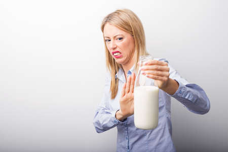 Woman having milk allergy