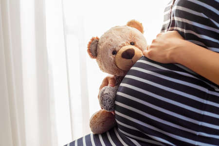 toy: Pregnant woman sitting and holding teddy bear toy