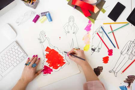 Fashion designer drawing Stock Photo
