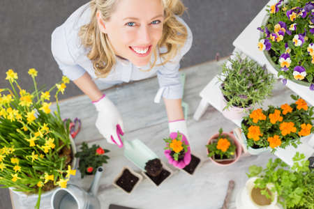 flowers garden: Woman doing gardening in studio setup Stock Photo