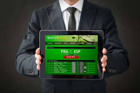 Sports betting website on tablet